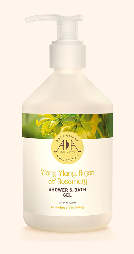Ylang Ylang, Argan & Rosemary Shower & Bath Gel AA Skincare - Salon Size 500ml.